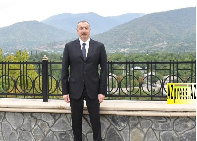 Ilham Aliyev arrived in Balakan district for visit - PHOTO=6