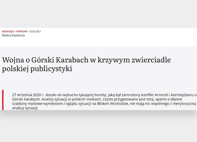 Polish media covered the historical aspects of the Karabakh conflict